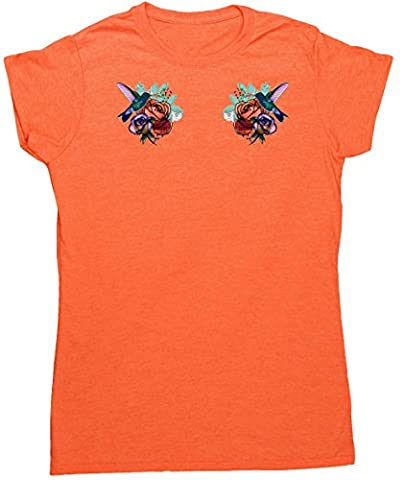 Hippowarehouse Damen T-Shirt, orange, 120762-DTG-FT-HOL