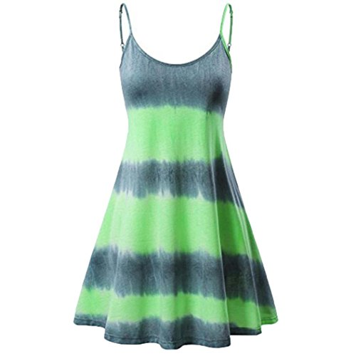 intage Floral Bedruckt ärmellose Riemchen Strand Swing Camis Minikleid (Grün, XL) (Tanz Kostüme Schuluniform)