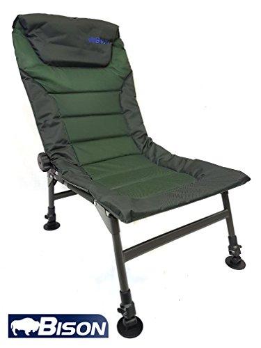 Bison ajustable patas y reclinable silla de pesca de carpa Camping Caravaning
