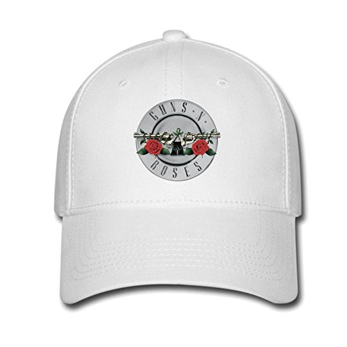 Feruch Custom Guns N' Roses Silver Logo Baseball Caps Adjustable Hats White -