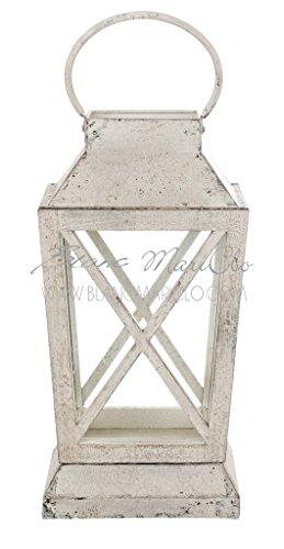 Lanterne blanc mariclò, métal bois, h 37 cm Base 20 x 20 cm