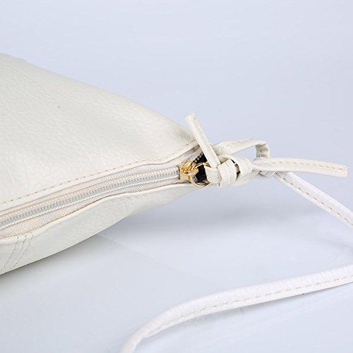 Espeedy Frauen PU-Leder Messenger Bag Kleine Mini-Dame-Handbag Körpercrossbody Beutel Weiß