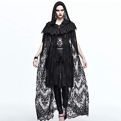 CDCDL Damen Schwarz Gothic Vintage Kleid -Spitzenhemd, Strickjacke, lockere Taille, perfekt für Feste, Bankette, Hochzeiten, Kirchen, Cocktailpartys, Tänze, - Tanz Kostüm Kirche