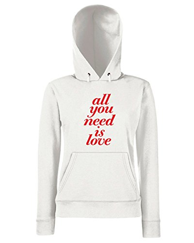 T-Shirtshock - Sweats a capuche Femme CIT0026 all you need is love Blanc