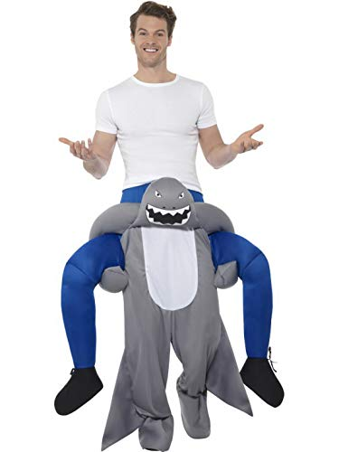 Kostüm Pet Hai Overall - Halloweenia - Herren Männer Huckepack Piggyback Kostüm, böser Hai Shark trögt Dich, Einteiler Overall Jumpsuit, perfekt für Karneval, Fasching und Fastnacht, One Size, Grau