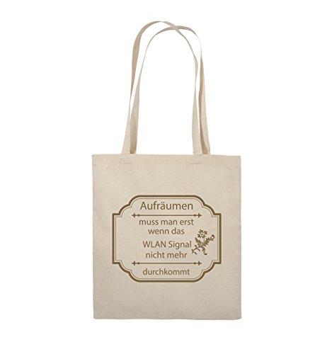 Comedy Bags - Aufräumen muss man erst, wenn - WLAN SIGNAL - Jutebeutel - lange Henkel - 38x42cm - Farbe: Schwarz / Silber Natural / Hellbraun