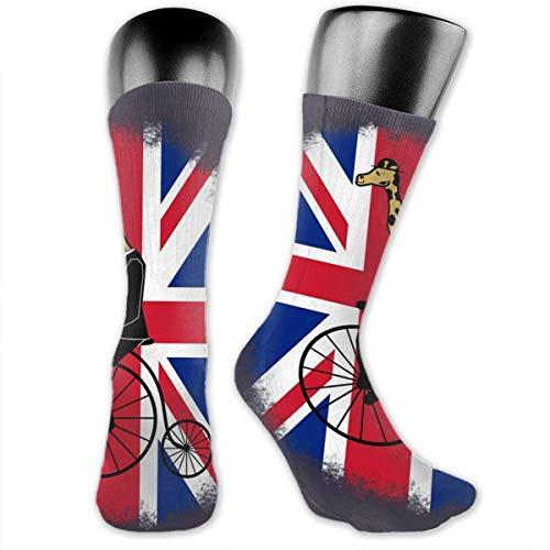 Union Jack Penny Farthing Giraffe British Flag Over-The-Calf Socks Athletic Socks Knee High Socks For Men Women Sport Long Sock Stockings 40CM - Frauen-union-anzug