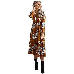 Holacha Boho Vestido Largo de Manga Larga de Algodón Patron de Flor Moda Casual para Mujeres (L, Amarillo)