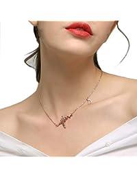 Latido Del Corazón De La Mujer Lightning Love Collar Colgante Corto Cientos Simples Matching Cadena De