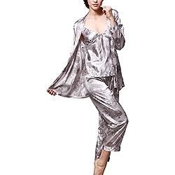 Uniquestyle Pyjama en Satin Femme À Manches Longues Pyjama de Soie de Femme Sexy de Confort Trois-pièces Gris Taille 2XL=FR L