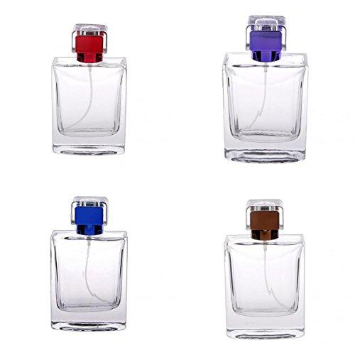 4pcs Vaporisateurs Vides de Parfum Bouteille 100ml Rectangle Atomiseur Cadeau Voyage