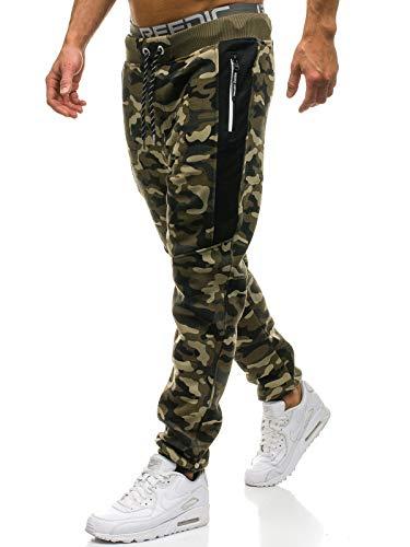 BOLF Herren Sporthose Trainingshose Jogger Army Camo Military Sportlicher Stil P&L Fashion QN271 Grün XL [6F6]