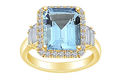 AFFY  -  Gold 14 Karat (585) 14 Karat (585) Gelbgold Smaragdschliff Blue Diamant (Ringe Aquamarin Im Smaragdschliff)