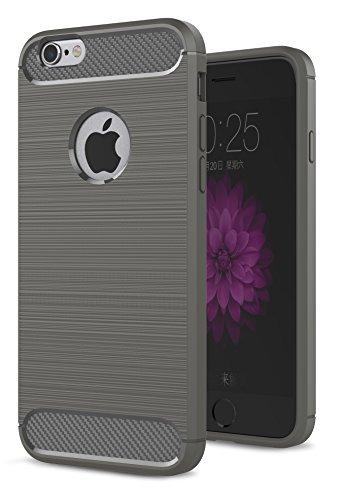 Oceanhome Schutzhülle apple iPhone 6 Plus Hülle , Stoßfest TPU Silikon Schutz hülle Rutschfeste Schlanke Handy hülle für apple iPhone 6 Plus Bumper Case , Carbon Gebürstet für iPhone 6 Plus Case Cover Grau