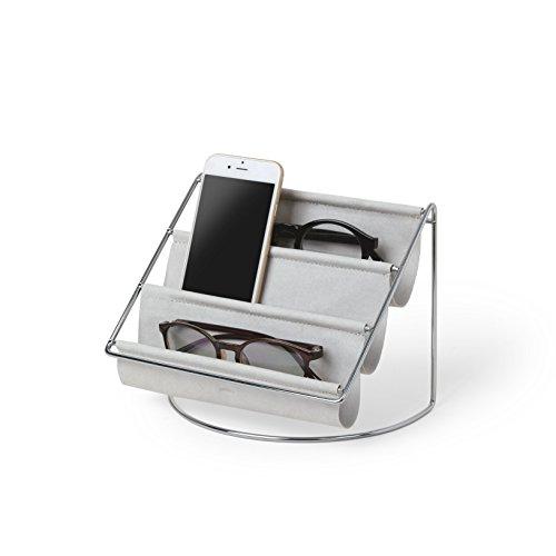 Umbra Hammock Accessoire Organizer - Ablage für Schlüssel, Sonnenbrillen, Lesebrillen, Handys, Briefe und mehr, Wildleder/Chrom
