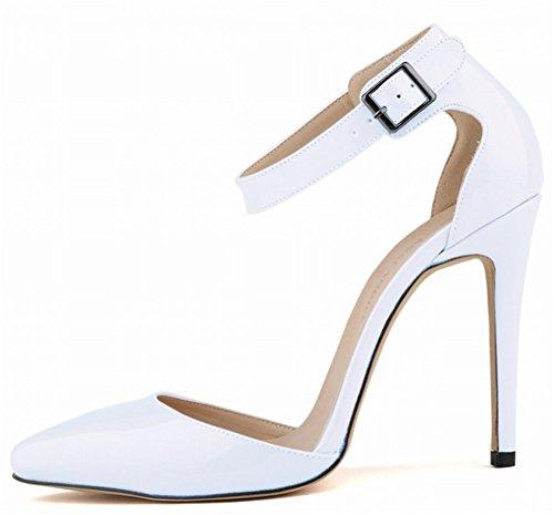 Wealsex Escarpins Sandale Bride Cheville Boucle Vernis PU Cuir Bout Pointu Talon Aiguille Chaussure de Soirée Mariage Sexy Mode Talon 11 Cm Femme Blanc