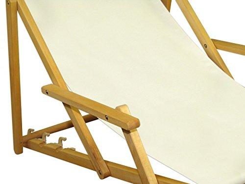 Deckchair weiß Liegestuhl Kissen klappbare Sonnenliege Gartenliege Holz Gartenmöbel 10-303NKH
