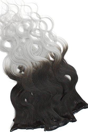 Ombré Clip In Extensions gewellt 10 tlg Set - 100% Remy Echthaar 100g 50cm Ombre Clip in Hair Extension 1b - grau Naturschwarz Grau