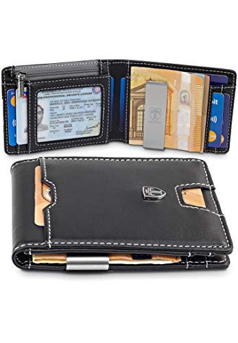 """TRAVANDO ® Portefeuille Homme avec Pince à Billets """"Dubai"""" Etui RFID Blocage Contre Piratage Bancaire - Mince Porte-Monnaie avec Clip en Métal - Porte-Carte de Crédit Sécurisé - Porte-Cartes"""