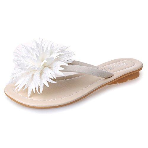 ZYUSHIZ Frau Beach Sandalen Blumen, flache Unterseite Wild Freizeitaktivitäten Schüler Hausschuhe 38EU