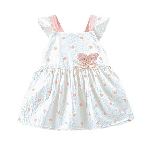squarex Sommer Kleinkind Kind Baby Mädchen ärmellose Sling Dot gedruckt Schmetterling Bogen Party Prinzessin Kleid Kleidung bequem lässig