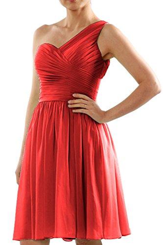MACloth Women One Shoulder Short Chiffon Wedding Bridesmaid Dress Made-to-Order red