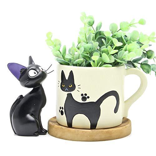 Comic Cat Black Kostüm - ZSTCO Kiki's Lieferservice Katzen Blumentopf, Mini Black Cats Blumentopf mit Studio Ghibli Miyazaki Spirit für Kinder Geschenk Home Decoration (Ohne Blumentopf)