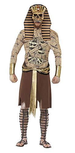 Kostüm Pharao Halloween - Smiffys, Herren Zombie-Pharao Kostüm, Überwurf, Armmanschetten und Kopfteil, Größe: L, 40097