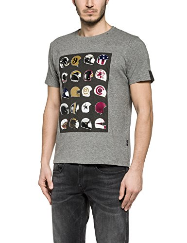Replay Men's Men's Grey T-Shirt With Print 100% Cotton Grau
