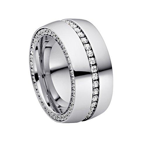 Heideman Ring Damen Ductus aus Edelstahl Silber farbend poliert Damenring für Frauen mit Swarovski Stein Zirkonia Weiss im Brillant Schliff 1,5mm