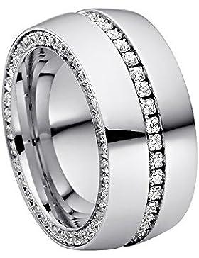 steel_art Damen-Ring ductuspoliert swarovski zirconia weiß 1,5 mm Ringe mit Stein Zirkonia Diamant Brillantfassung...