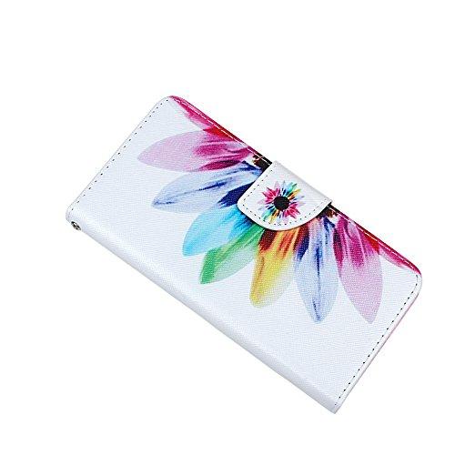 """xhorizon® Neu BlumenblattStil Brieftasche Folio Flip Magnet Stand Ledertasche Case Hülle mit Kreditkarteninhaber für Apple iPhone 6 Plus (5.5"""") mit Stift und xhorizon Reinigungstuch 1-Bunte Blume"""