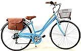 """Adriatica Bicicletta Donna Trend"""" Ruote 28″ con Cambio Shimano 6 velocità + Cesto Anteriore + Borsa Doppia Posteriore - Colore Azzurro"""