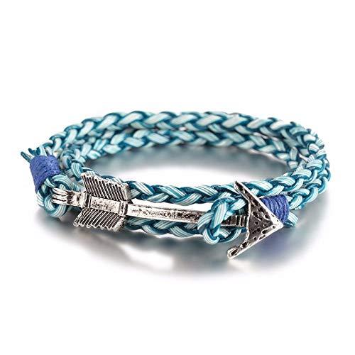 LLXXYY Geflochtenes Armband Für Frauen,Vintage Geflochtenes Seil Armreif Leder Retro Silber Legierung Pfeil Charme Blau Leder Armreif Für Männer Paare Frauen Schmuck