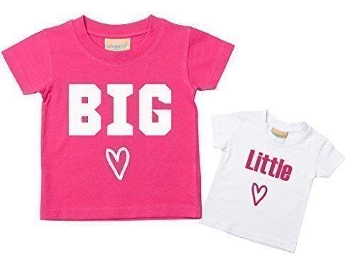 Big Sister Kleiner Schwester Herz T-shirt Set Baby Kleinkind Kinder Verfügbar in Größen 0-6 Monate wird 14-15 Jahre Neu Baby Schwester Geschenk – Rosa, Klein 50-68 Groß 110-116