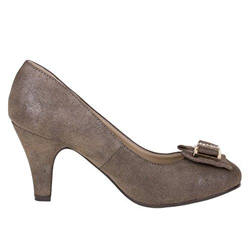 Damen Schuhe, 28101, PUMPS Bronze Braun 28103