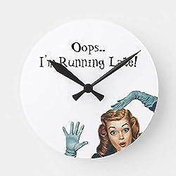 HSSS - Reloj de Pared de Madera, diseño Retro con Texto en inglés Pin-Up Late Oops (30,5 cm)
