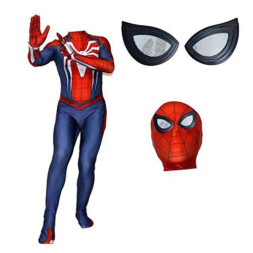JUFENG Spider-Man Siamese Strumpfhosen Anime Game Cosplay (Kopfbedeckungen Können Getrennt Werden) Halloween Charakter Performance Kostüm,A-Child-XS