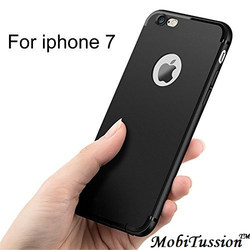 Discounted Price for Amazon Great Indian Sale ON MobiTussion Soft Silicone with Anti Dust Plugs Shockproof Slim Back Cover Case TPU for Apple iPhone 7 - Black
