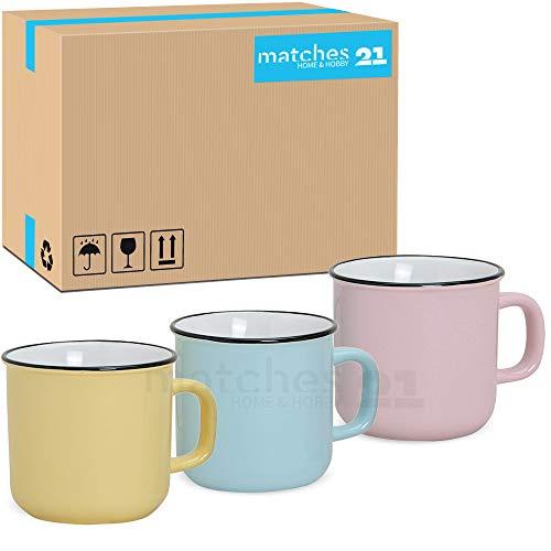 matches21 Tassen Becher Kaffeebecher Emaille-Optik Kaffeetassen Email-Optik 36 Stk. Karton gelb blau rosa Keramik SONDERPREIS je 9 cm / 450 ml