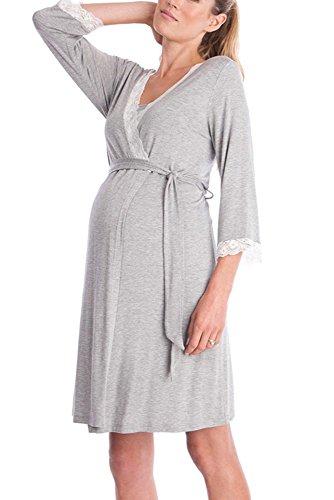 KINDOYO Mujeres Pijamas Elegante Sexy Encaje Costura Maternidad Robe Ropa de dormir,Gris claro/2XL