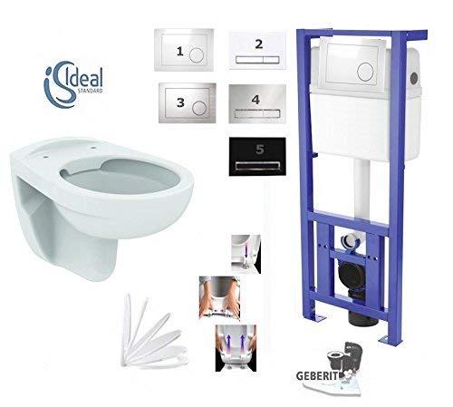 Basic, WC-Vorwandelement WC SET, Geberit Anschlussgarnitur, mit Drückerplatte weiß oder chrom, Schallschutzset, Wand WC Ideal Standard Spülrandlos, mit LotusClean-Beschichtung,