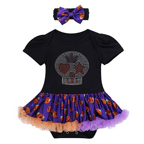 iiniim Baby Mädchen Strampler Halloween Kürbis/Schädel Kostüm Kurzarm Tütü Spielanzug Overall mit Stirnband Schwarz&Orange 68-74/6-9 Monate (Schädel Kostüm)