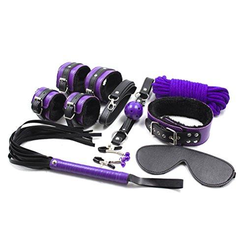 Metall-peitsche (SM Bondageset,Rapidly Handschellen Fußschellen Halskette Gesäß Peitsche Mundstecker Augenmaske MilchClip Lila 8 Sätze für Sexspie Cosplay)
