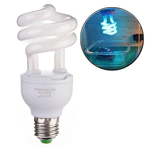 Bulary - Lampada a Forma di Tartaruga, compatta, Fluorescente, per Illuminazione vivario e Calcio, per rettili UVB 5.0 UVB 10.0 13 W, Attacco E27