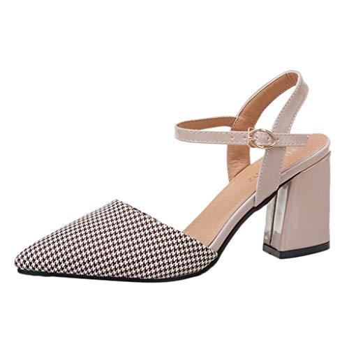 Chaussures Femme Bout Pointu Sandales Mode Sangle de Boucle Talons Hauts Sexy Chaussures Vintage Chaussures Escarpin Ouvert Petit Talon Escarpins Bride Chevill
