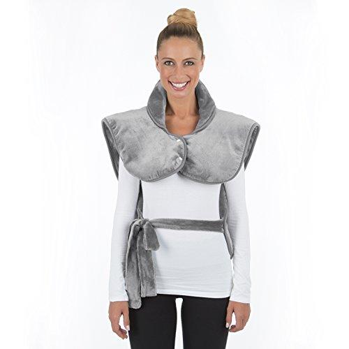 Elektrische Heizdecke mit Abschaltautomatik Wärmedecke Wärmekissen Nacken Schultern Rücken Extra Groß, 3 Stufen, 100 Watt, Überhitzungsschutz, Grau