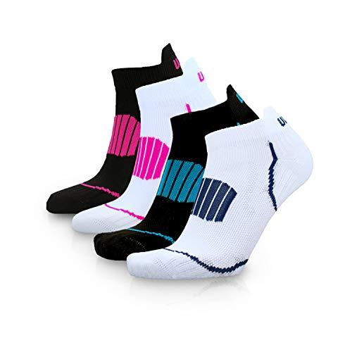 UPHILLSPORT Low Cut Sneakersocken - Sportsocken kurz atmungsaktiv - Laufsocken Damen und Herren - Ideal für Fitness Laufen Tennis Alltag (Weiß-Blau, 39-42)