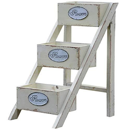 ZHANWEI Gartenregal Blumenregal Korrosionsschutzholz Ladder-förmig 3 Tier Faltbar Amerikanisches Land Retro Beige Bodenständig Regal (größe : 34x21x40.5cm) -