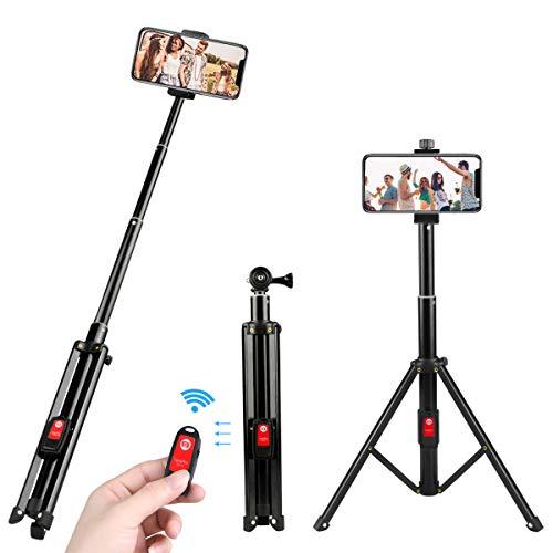 Bastone selfie, estela 3-in-1 selfie stick bluetooth treppiede estensibile 360° rotazione selfie stick cavalletto per smartphone, gopro